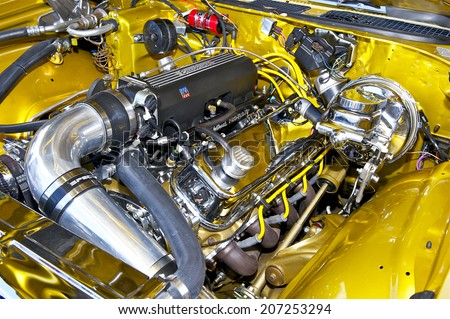 GLENDALE/CALIFORNIA - JULY 19, 2014: 1970 Chevrolet Chevelle SS 454 (engine compartment) owned by Aram Kazazian at the Glendale Cruise Nights Car Show July 19, 2014 Glendale, California USA  - stock photo