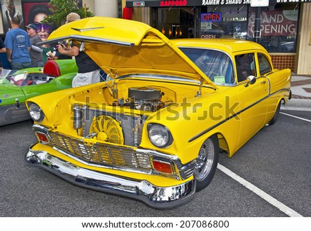 GLENDALE/CALIFORNIA - JULY 19, 2014: 1956 Chevy 2 Door owned by Richard Riggle at the Glendale Cruise Nights Car Show July 19, 2014 Glendale, California USA  - stock photo