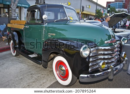 GLENDALE/CALIFORNIA - JULY 19, 2014: 1953 Chevy 3100 Pick-Up Truck owned by Fred Borquez at the Glendale Cruise Nights Car Show July 19, 2014 Glendale, California USA
