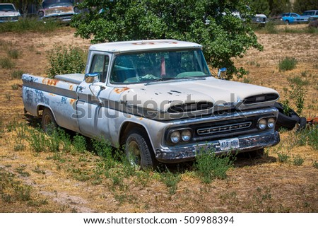 GLENDALE, UT: August 2016 - Old Chevrolet pickup truck in Glandale UT