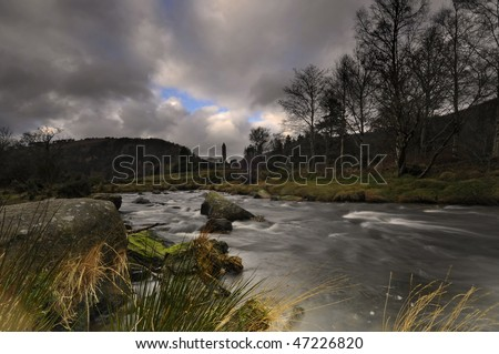 Glendalough landscape in winter,Ireland