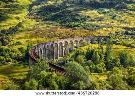Glenfinnan Railway Viaduct in Scotland - stock photo