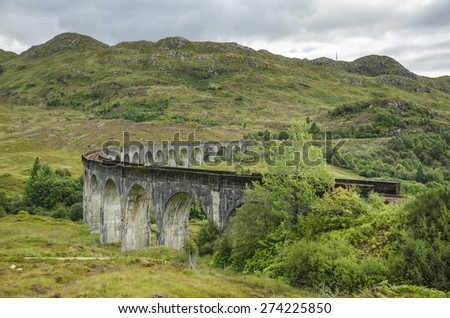 Glenfinnan Railway Viaduct on the West Highland Line in Glenfinnan, Scotland - stock photo