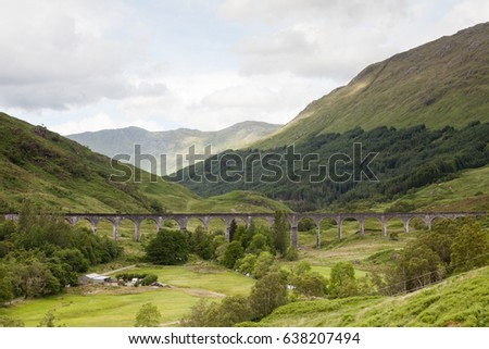 Glenfinnan Viaduct.  A view of Glenfinnan Viaduct on the West Highland Line in Scotland between Fort William and Mallaig.  The railway viaduct has featured in numerous films and television programmes.