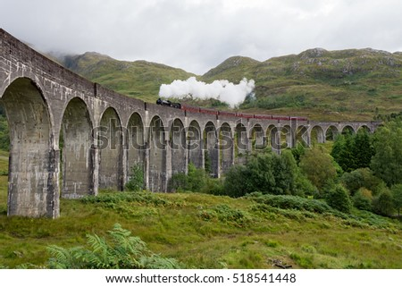 Glenfinnan viaduct in the Highlands of Scotland