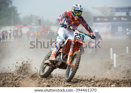 Glenn Coldenhoff no.259 Team Red Bull KTM Factory Racing in competes during Qualifying Race MXGP class the FIM Motocross Wolrd Championship Grand Prix of Thailand on March 05,2016 in Thailand.