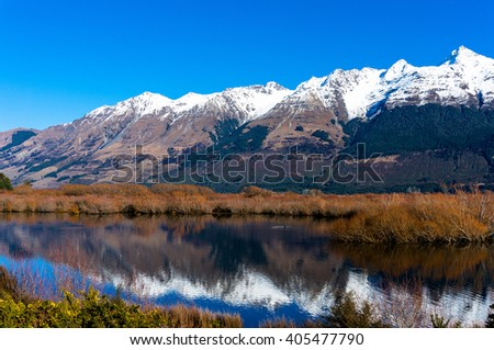 Glenorchy lagoon landscape with snow covered mountains reflected in lagoon water. Winter mountain landscape with frozen lake and yellow flowers. South Island, New Zealand