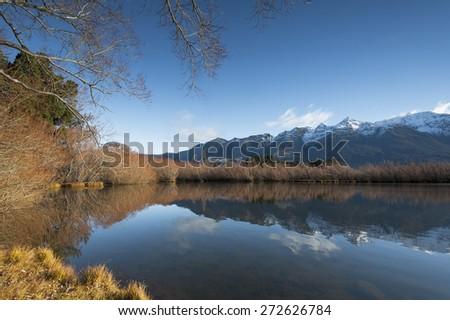 Glenorchy Lagoon, Newzealand. - stock photo