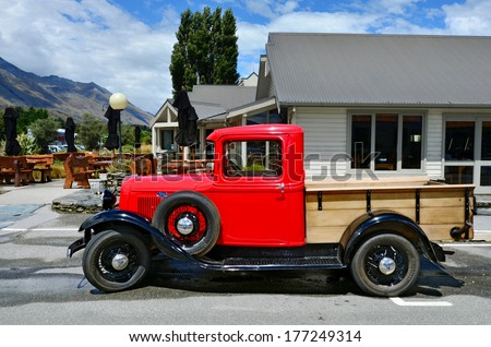 GLENORCHY, NZ - JAN 13:An 1930 Ford Model A Pickup in Glenorchy on Jan 13 2014.In NZ there are more then 13,000 vintage classic cars in immaculate condition. - stock photo