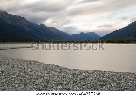 Glenorchy Sunset/ Glenorchy is a small town at the northern head of Lake Wakatipu, the mouth of the Dart River