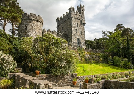 Glenveagh Castle, Donegal in Ireland - stock photo