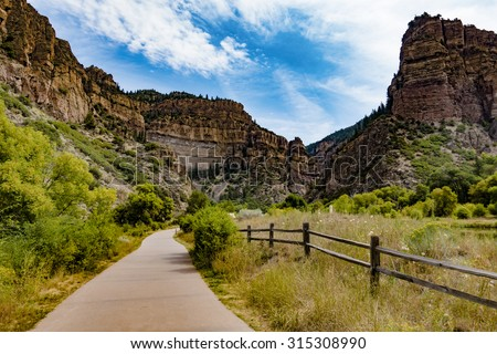 Glenwood Canyon Recreation Trail on the Colorado River - stock photo