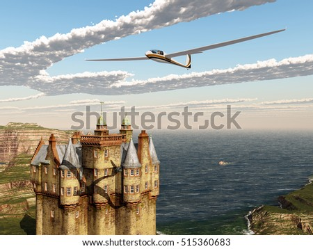 Glider over a Scottish castle Computer generated 3D illustration