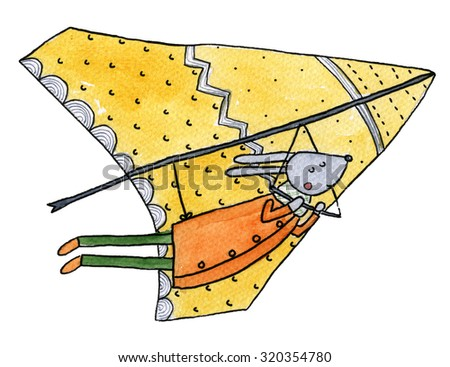 Glider Watercolor Illustration - stock photo