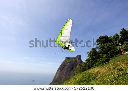Gliding flight in the beautiful stone, Rio de Janeiro - stock photo