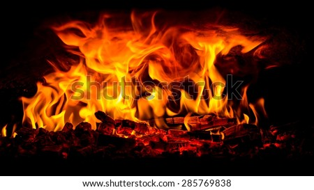 Glimpse into a wood fire oven before the pizza comes in - stock photo