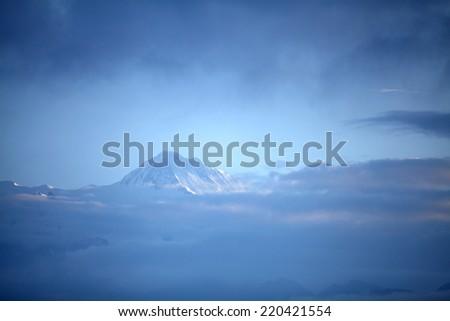 Glimpse of Annapurna range - stock photo