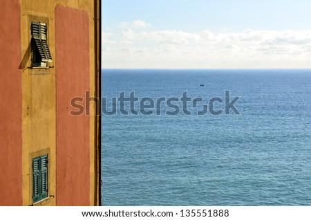 glimpse of Camogli, Genoa, Italy - stock photo