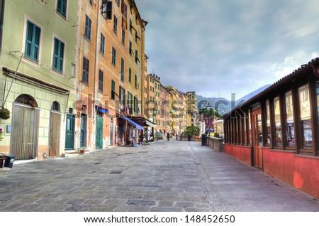 glimpse of Camogli, Genoa, Italy (hdr image) - stock photo