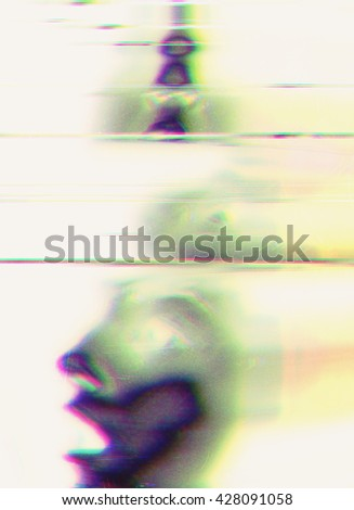 glitched face background - stock photo