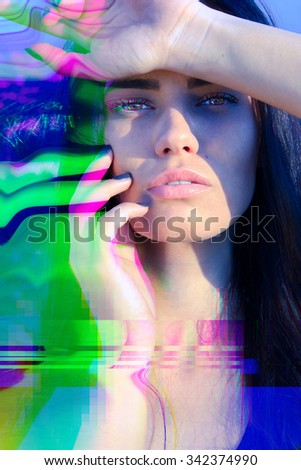 Glitched portrait of attractive woman - stock photo
