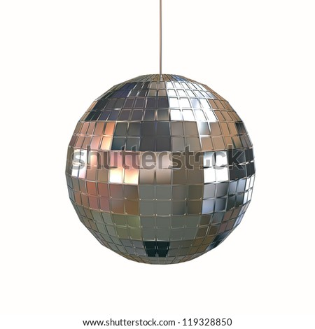 glitter ball isolated on white background - stock photo