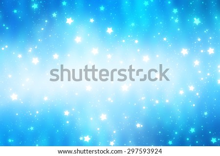Glitter blur blue background with lights and stars - stock photo