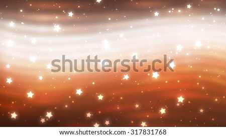 Glitter blur orange background with lights and stars