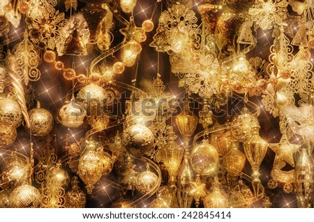Glitter Christmas And New Year Balls Ornaments - stock photo