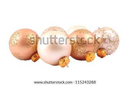 Glitter christmas balls isolated on white background - stock photo