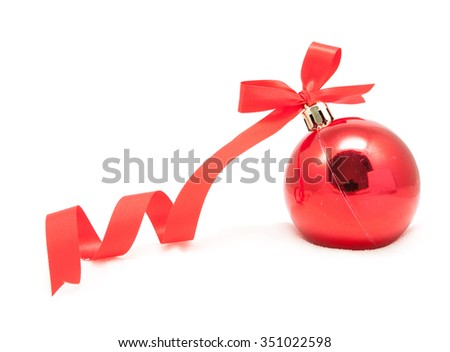 Glitter christmas red ball isolated on white background