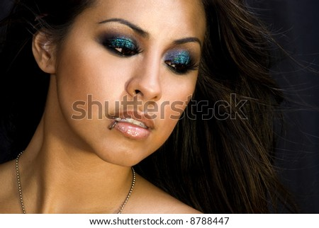 Glitter eye shadow.