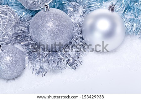glitter silver christmas baubles decoration holidays isolated on white