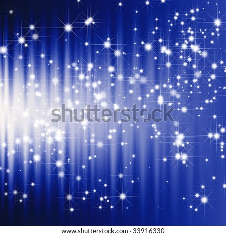 Glitter stars on dark blue abstract background - stock photo
