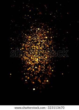glitter vintage lights background. dark gold and black. defocused. Christmas card - stock photo