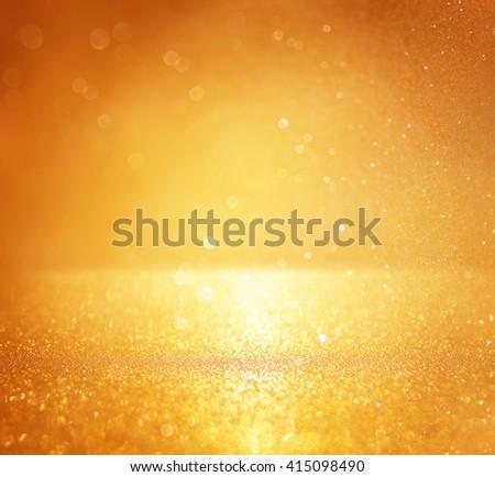 glitter vintage lights background. gold, silver. defocused  - stock photo