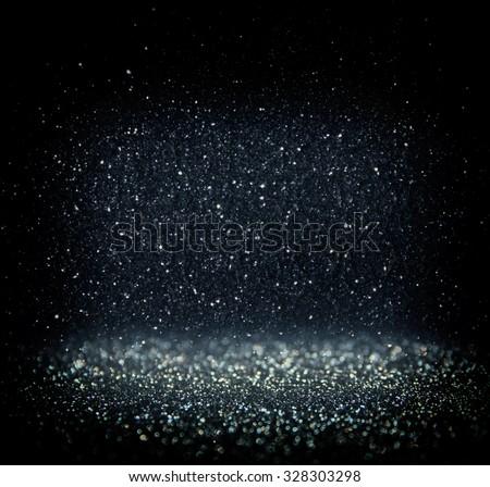 glitter vintage lights background. light silver, blue and black. defocused.  - stock photo