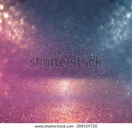 glitter vintage lights background. red, gold and blue. defocused.  - stock photo