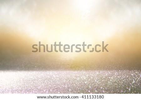 glitter vintage lights background. silver, gold and black. defocused.  - stock photo