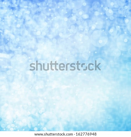 Glittering Lights Festive background with texture. Blue and white Abstract Christmas twinkled bright background with bokeh defocused - stock photo