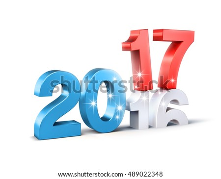Glittering New Year red and blue 2017 type over 2016, isolated on white - 3D illustration