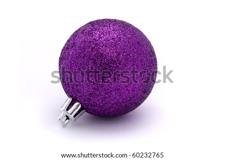 glittering purple christmas bauble over white - stock photo
