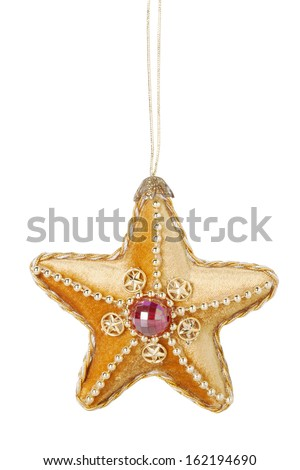 Glittering Star Christmas Ornament Isolated on White Background - stock photo