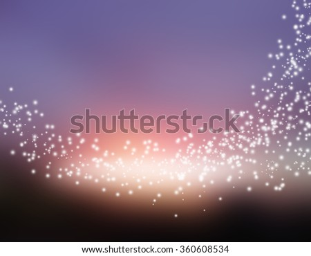 glittering stars on bokeh background , glitter stars on sunset background