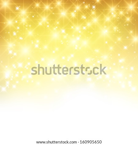 Glittery gold Christmas background with place for new year text invitation. - stock photo