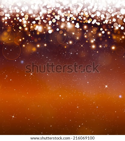 Glittery golden festive background with stars - stock photo