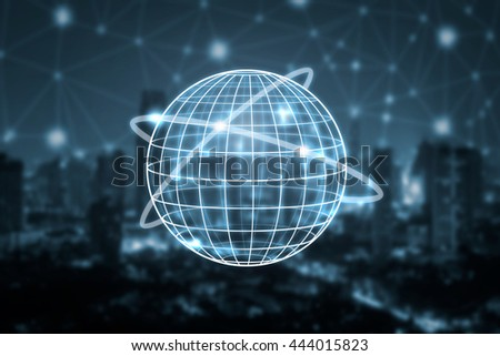 Global,Abstract geometric shape with spherical severed,Technology communication concept