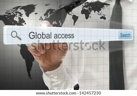 Global access written in search bar on virtual screen. - stock photo
