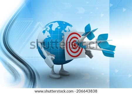 Global And Dart for Business Concept - stock photo