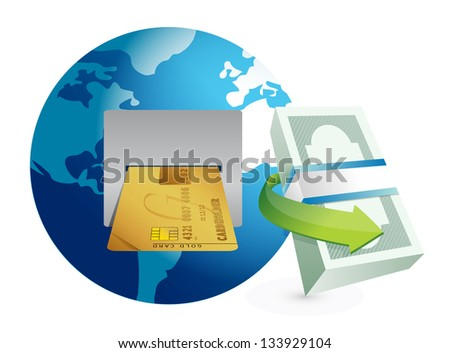 global atm illustration design graphic over a white background - stock photo